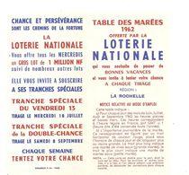 La Rochelle Table Des Marées Offerte Par La LOTERIE NATIONALE De 1962 (17) De 1962 - Dépliants Touristiques