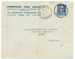 ENVELOPPE MARIANNE DE GANDON N° 886 15 F OUTREMER ARVIEU AVEYRON  1951 - Marcophilie (Lettres)