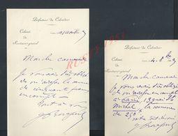 3 LETTRES DONT UNE DE CHINON 1899 PRÉFECTURE DU CALVADOS ECRITE DE CAEN 1893 : - Manuscripts