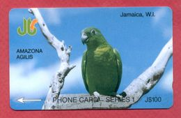 "JAMAICA:1990 JAM-1E ""Amazone Agilis"" CN:Black Number On Black. Rare - Jamaica"