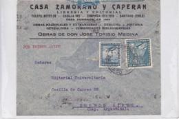 CHILE. CASA ZAMORANO Y CAPERAN. AIRMAIL. CIRCULEE TO BUENOS AIRES. BANDELETA PARLANTE.-TBE-BLEUP - Chile