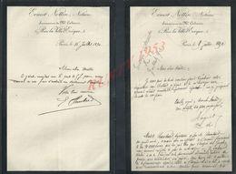 2 LETTRES DE 1890 ERNEST NOTTIN NOTAIRE À PARIS PARIS RUE LA VILLE L EVÉQUE : - Manuscripts