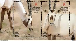 Oman - 2016 - Wildlife - Arabian Oryx - Mint Souvenir Sheet With Embossing - Oman