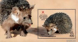 Oman - 2016 - Wildlife - Hedgehog - Mint Souvenir Sheet With Embossing - Oman