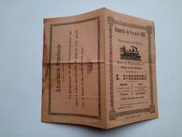 Petite Brochure Horaire Train  Itinerario De Verano 1905 Ferrocarril Del Norte Restaurant Barnechéa Espagne - Dépliants Touristiques