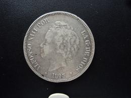 ESPAGNE : 5 PESETAS  1893 (18) (93) PG-L   KM 700 *    B+ - [ 1] …-1931 : Royaume