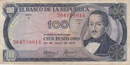 BILLETE DE COLOMBIA DE 100 PESOS DE ORO DEL AÑO 1974  (BANK NOTE) - Colombia