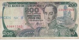 BILLETE DE COLOMBIA DE 200 PESOS DE ORO DEL AÑO 1975  (BANK NOTE) - Colombia