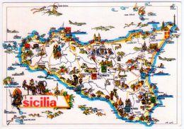Cartina Illustrata Della Trinacria. VG. - Carte Geografiche