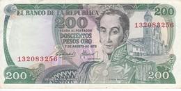 BILLETE DE COLOMBIA DE 200 PESOS DE ORO DEL AÑO 1975 EN CALIDAD EBC (XF) (BANK NOTE) - Colombia