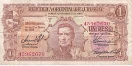 BILLETE DE URUGUAY DE 1 PESO DEL AÑO 1939 DIFERENTES FIRMAS (BANKNOTE) - Uruguay