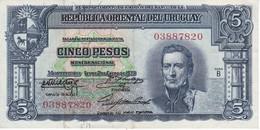 BILLETE DE URUGUAY DE 5 PESOS DEL AÑO 1939 SERIE B (BANKNOTE) - Uruguay