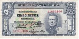 BILLETE DE URUGUAY DE 5 PESOS DEL AÑO 1939 SERIE C (BANKNOTE) - Uruguay