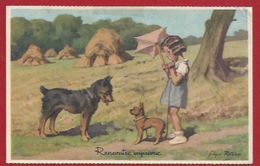 ENFANTS - ILLUSTRATEUR: REDON - FILLETTE ET CHIENS - - PARAPLUIE  - - Humorous Cards
