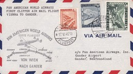BELGIQUE. FIRST FLIGHT. PAN AMERICAN AIRWAYS VIENNA TO GANDER.-TBE-BLEUP - Aéreo