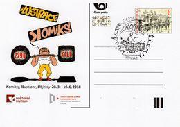 Czech Republic - 2018 - Comics And Illustration Exhibition In Postal Museum - Postcard With Special Postmark Andhologram - Postwaardestukken