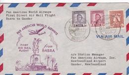 IRAQ. FIRST FLIGHT. PAN AMERICAN AIRWAYS BASRA TO GANDER.-TBE-BLEUP - Irak