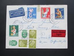 BRD 1959 Interessante MiF Mit Zusammendrucken / Zierfeld Und Heuss I + Wohlfahrt. Expres Brief Nach Paris - BRD