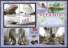 2012 TONGA 1286-89+ BF 49 **Titanic, Bâteau  Côte 33.00 - Tonga (1970-...)