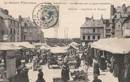 + CPA 50 Saint Lô - Le Marché Sur La Place Gambetta + - Saint Lo
