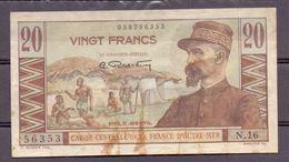 France D'outre-mer . Afrique Centrale  20 Fr  ND Gentil - Billets
