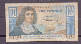 France D'outre-mer . Afrique Centrale  10 Fr  ND Colbert - Billets