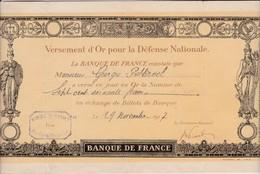 Reçu D Un Versement D OR Pour La Défense National 1917 - Shareholdings