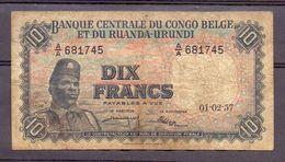 Belgian Congo Kongo 10 Fr 1957  VG - [ 5] Belgian Congo