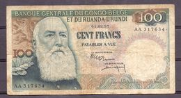 Belgian Congo Kongo 100 Fr 1957  Ruanda-urundi - [ 5] Belgian Congo