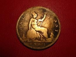 Royaume-Uni - UK - Half Penny 1861 Victoria 4294 - 1816-1901 : Frappes XIX° S.
