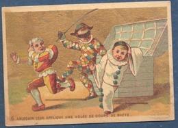 Chromo Doré Or Chemiserie E Morel Versailles 6 Arlequin Poichinelle Pierrot Coffre Volée De Coups De Batte - Unclassified