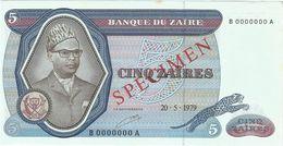 Zaire 5 Zaires 20-05-1979 SPECIMEN Pick 22.s UNC - Zaire