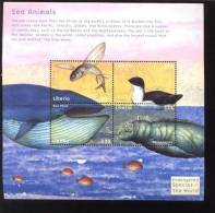 LIBERIA  1912 M  MINT NEVER HINGED MINI SHEET OF FISH-MARINE LIFE    ( 0341 - Marine Life
