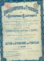 (ANVERS) « Union Anversoise De Tramways Et D'entreprises électriques SA » - Capital : 5.000.000 Fr – Action De Dividende - Chemin De Fer & Tramway