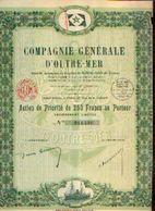 (PARIS) « Compagnie Générale D'OUTRE-MER SA» - Capital : 6.000.000 Fr – Action De Priorité De 250 Francs - Azioni & Titoli