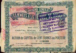 (ANVERS) « Compagnie Générale Des Tramways électriques De ROSARIO SA» - Capital : 12.500.000 Fr – Action De Capital De 1 - Chemin De Fer & Tramway