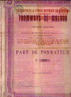 (BRUXELLES) « Tramways De MALAGA SA» Surchargé « Transports & Force Motrice En Espagne » - Part De Fondateur - Chemin De Fer & Tramway