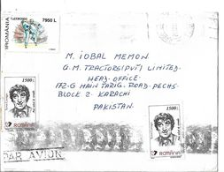 Romania 1999 New Olympic Sports - Taekwondo 7950 L, Comedic Actors Toma Caragiu 1500 L Airmail Cover To Pakistan. - Aéreo