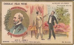 CHROMO--RARE---chocolat FELIX POTIN--émile Augier--les Fourchambault--( Auteurs Célébres )-voir 2 Scans - Félix Potin