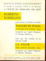 Ciné Cinema Pub Reclame Film Viaggio In Italia - Roberto Rossellini - Ecran Du Séminaire Des Arts Bruxelles 1956 - Merchandising