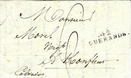 1819- Lettre De 42 / GUERANDE ( L. Atl. ) 35 X 9 Mm Noir Pour Honfleur - 1801-1848: Precursores XIX