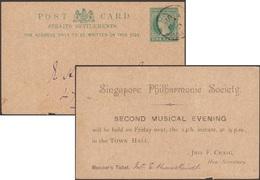 Straits Settlements 1894. Carte Postale, Entier Repiqué Singapore Philharmonic Society, Second Musical Evening Town Hall - Straits Settlements
