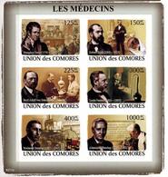 MMA-BK1-255 MINT ¤ COMORES 2008 6w In Serie (IMPERF.) ¤ LES MEDECINS - LOUIS PASTEUR - AND OTHER - Louis Pasteur