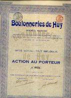 « Boulonneries De HUY SA » - Action Au Porteur - Industrie