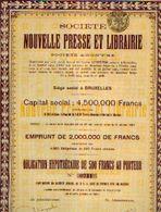 (BRUXELLES) « Société Nouvelle Presse Et Librairie SA» - Capital : 4.500.000 Fr – Obligation Hypothécaire De 500 Fr - Shareholdings