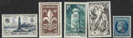 """FR YT 786 à 788 790 791 """" 5 TP De L'année """" 1947 Neuf** - France"""