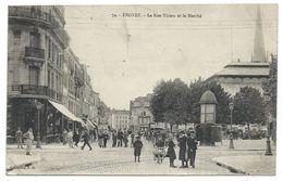 CPA - TROYES, LA RUE THIERS ET LE MARCHE - Aube 10 - Circulé 1916 - Animée - Troyes