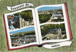 CPSM Dentellée - NANGIS (77) - Carte Multi-vues De Vues Aériennes Au Livre Ouvert De 1955 - Nangis