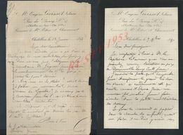 3 LETTRES DE 1890/93 DE EUGÉNE GOISSET NOTAIRE À CHÂTILLON SUR SEINE : - Manuscripts