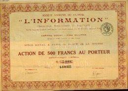 (°PARIS) « Journal L'information SA» - Capital : 5.000.000 Fr –action De 500 Fr - Shareholdings